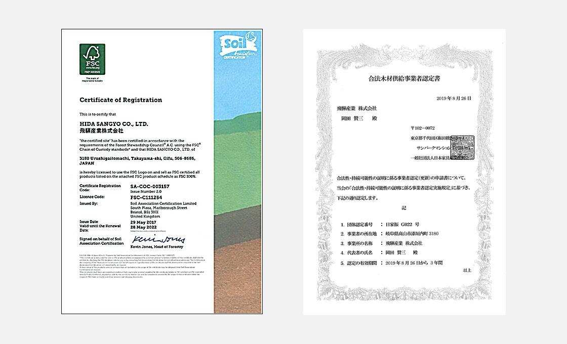 合法木材供給事業者 認定書